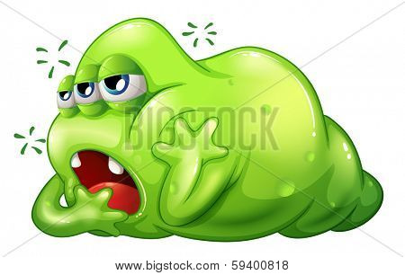 Illustration of a greenslime monster in boredom on a white background