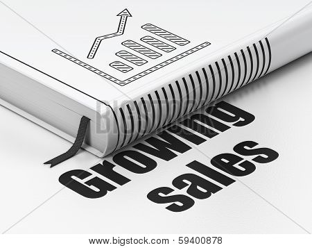 Finance concept: book Growth Graph, Growing Sales on white background