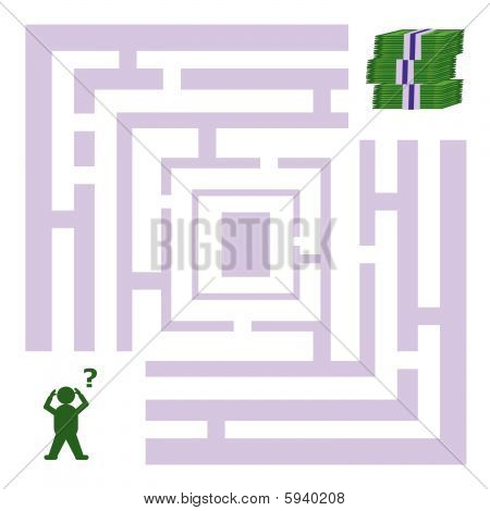 Abstract maze with a man looking for money