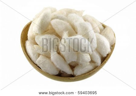 A bowl of Silkworm Cocoon isolated on white background