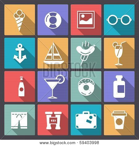 Set Of Sixteen Recreation Icons In Flat Design