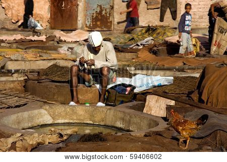 Worker On Old Tannery