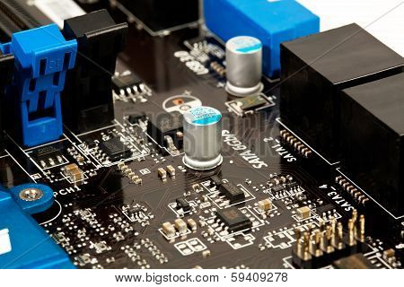 Laptop Microchip And Conductors On Mother Board Close View