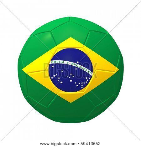 3D render of Brazilian soccer football on white background