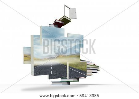 Open road on abstract screen against steps made out of books with open door