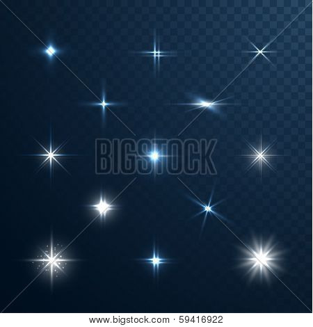 Stars and sparkles - collection of design elements on half-transparent background - eps10 vector