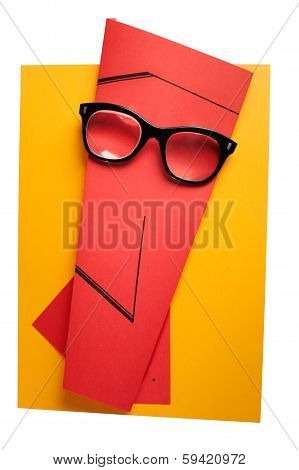 Creative human expression wearing retro eyeglasses.