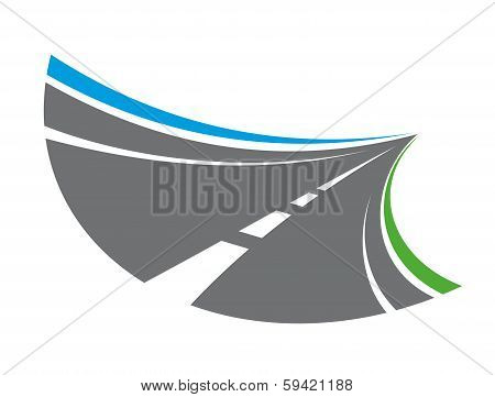 Stylized tarred road with markings