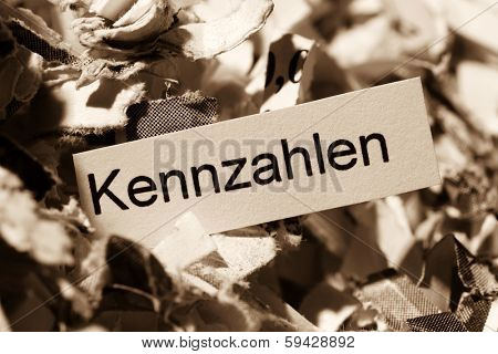 shredded paper for keyword metrics, symbol photo for data destruction, business and economic development