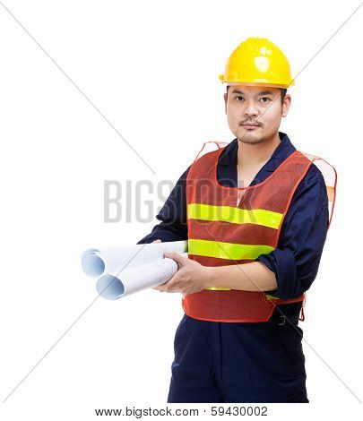 Construction worker holding blue print