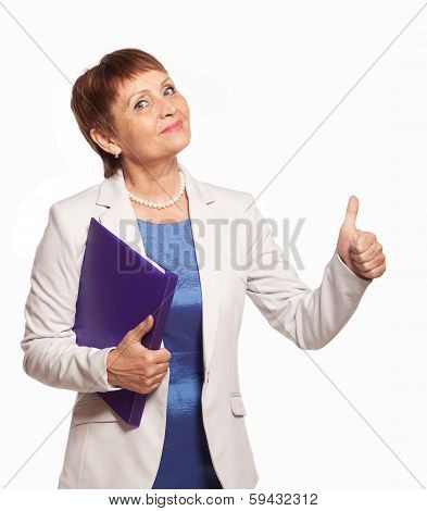 Happy Woman 50 Years Old With A Folder For Documents