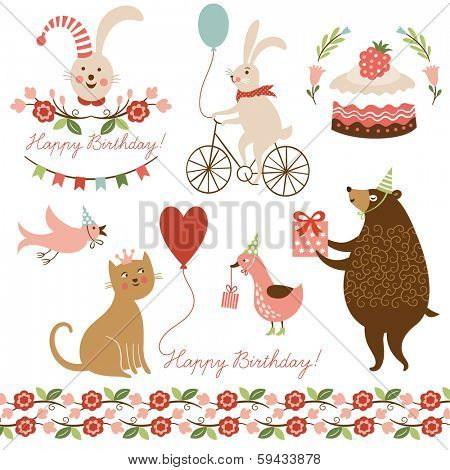 illustrations and graphic elements for greeting cards