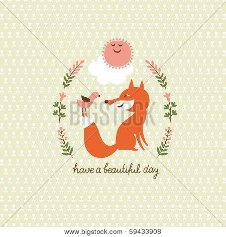 Cute fox and a bird, vector illustration