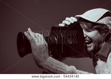 Man With Retro Camera.