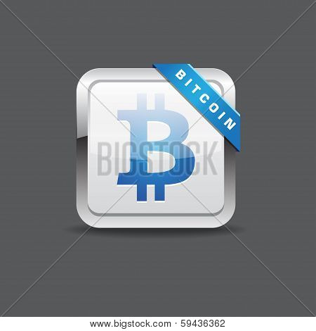 Bit Coin Sign Rounded Corner Vector Icon Button