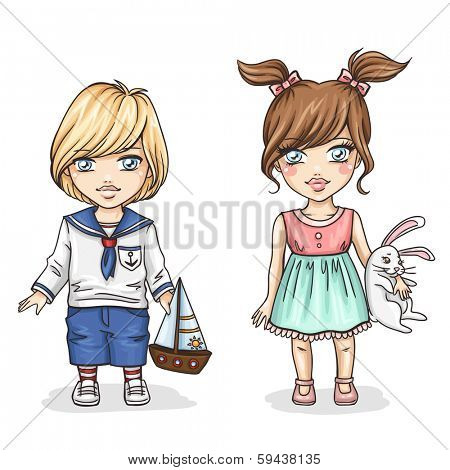 Cute kids with toys