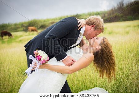 Wedding Couple, Happy romantic bride and groom kissing