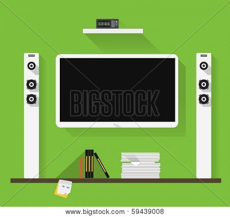 Modern home media entertainment system illustration
