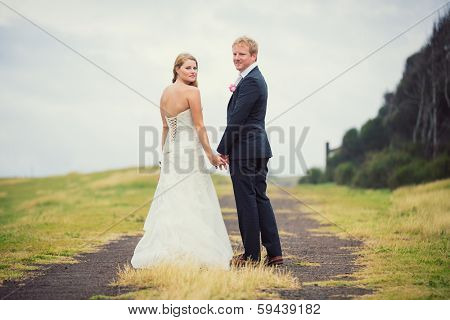 Wedding Couple in the Countryside, Happy Romantic Bride and Groom,