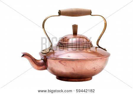 Copper Tea Pot Isolated On White Background