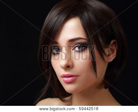 Sexy Makeup Woman With Short Black Hair Looking