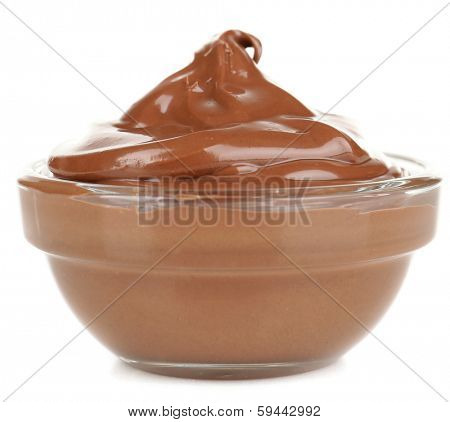 Chocolate cream in bowl isolated on white