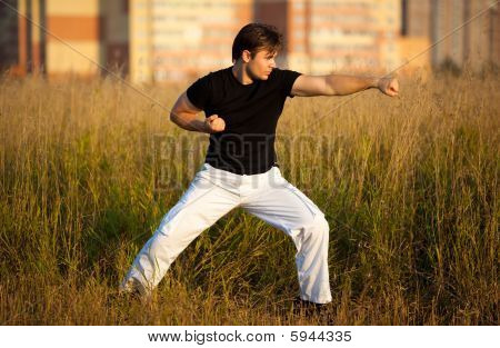 Young Athletic Man Martial Art Training