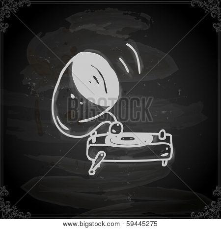 Gramophone. Cute Hand Drawn Vector illustration, Vintage Blackboard Texture Background. Chalkboard illustration variant.