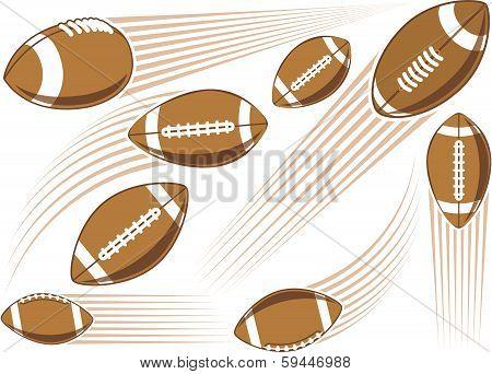 Flying american football ball