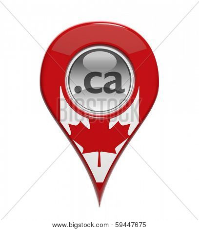 3D pin domain marker with Canadian flag isolated