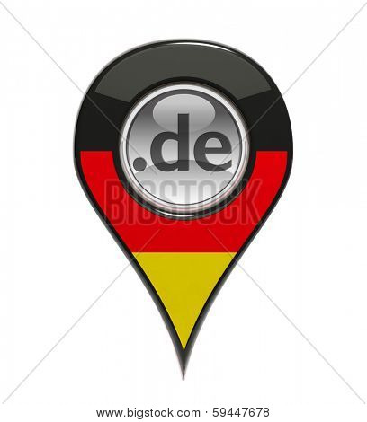 3D pin domain marker with German flag isolated
