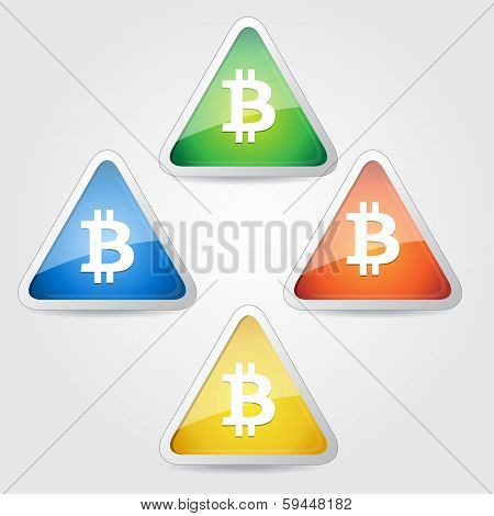 Bit Coin Sign  Vector Icon Button Set