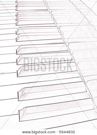 Artistic Draw Of A Piano Keyboard Image
