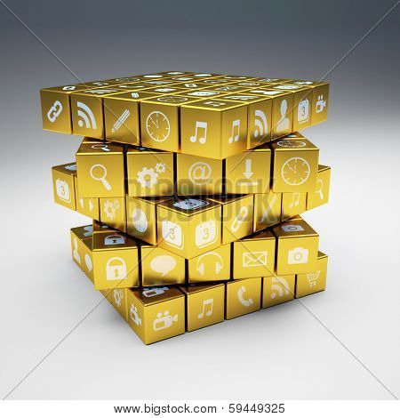 3d image of abstract golden cubes and icon set