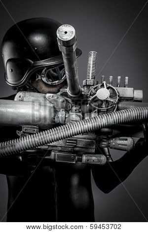 Robotics.Starfighter with huge plasma rifle, fantasy concept, military helmet and goggles motorcyclist