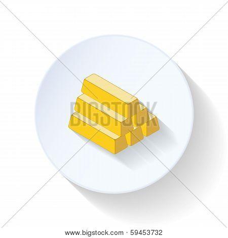 Gold bullion flat icon