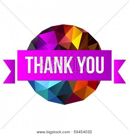 sign Thank You on abstract background