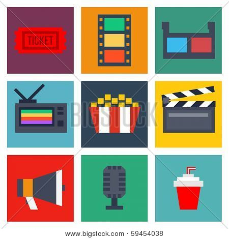 Set of movie design elements and cinema icons in flat style. 10eps