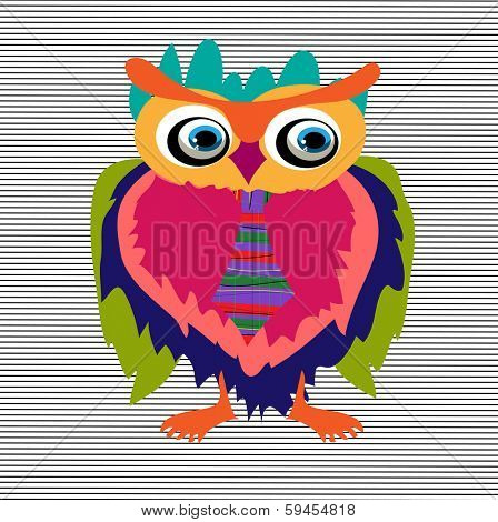 Cute Owl, cartoon drawing, cute illustration for children, vector illustrations (hipster symbol series)