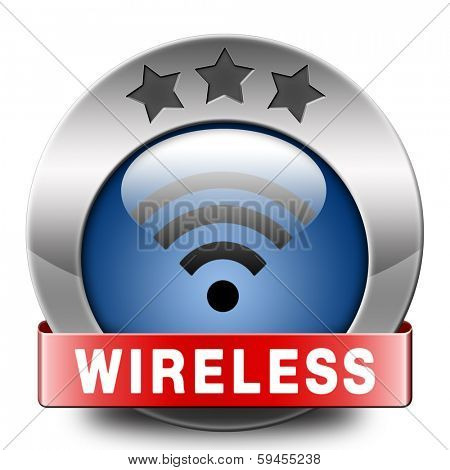 wireless sign free wifi access area and internet access icon or button