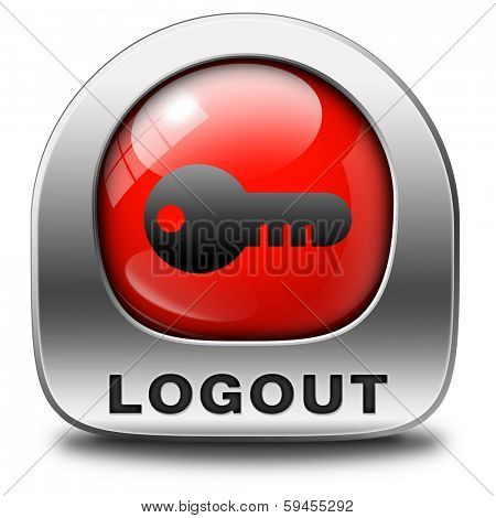logout icon or user or member logout button or banner