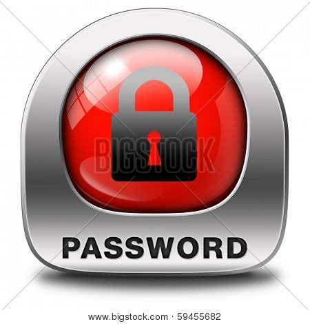 password protected button data protection by using strong safe passwords recover and change for security and safety icon