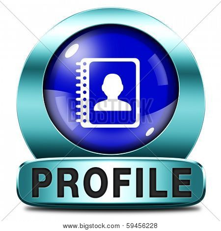 Profile personal information and bio info or data icon or button your avatar