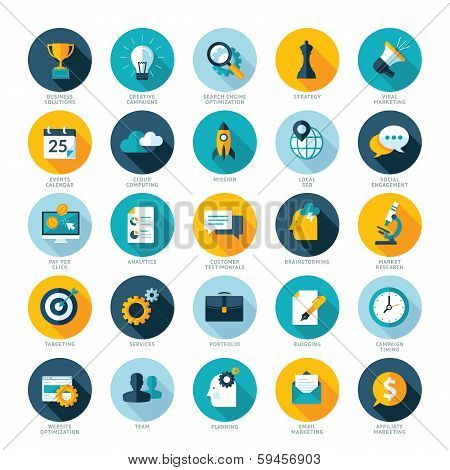 Set of flat design icons for Business, SEO and Social media marketing poster