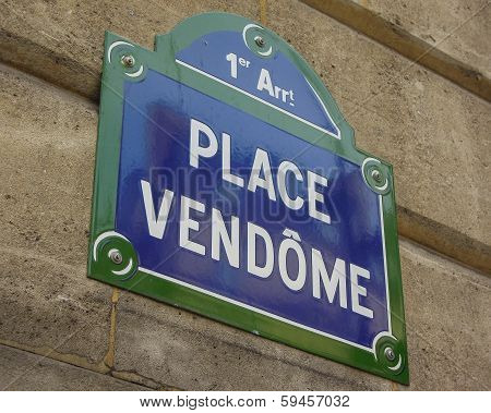 Sign for Place Vendome in Paris