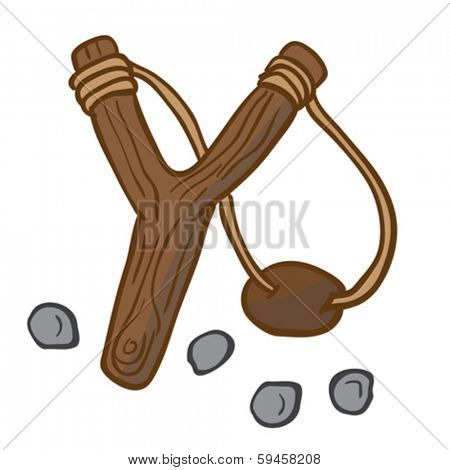 cartoon illustration of slingshot with some pebbles