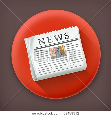 Newspaper, long shadow vector icon