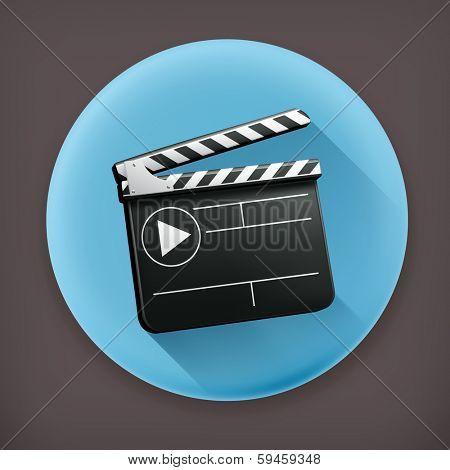Movie clap, long shadow vector icon