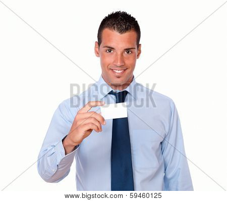 Attractive Young Man Holding A Business Blank Card