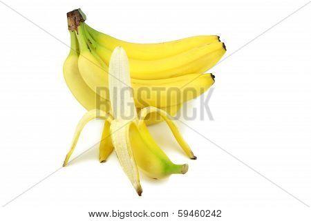 Bananas and peeled banana